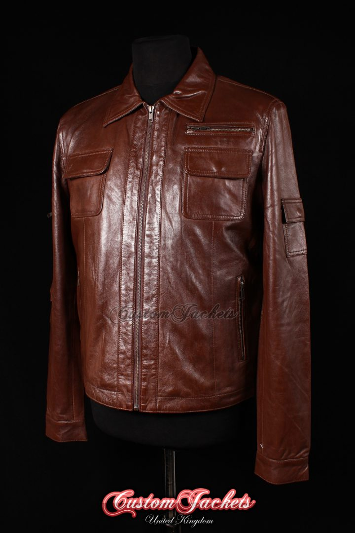 Men's JENSON Brown Washed Lambskin Military Combat Style Real Genuine Leather Jacket