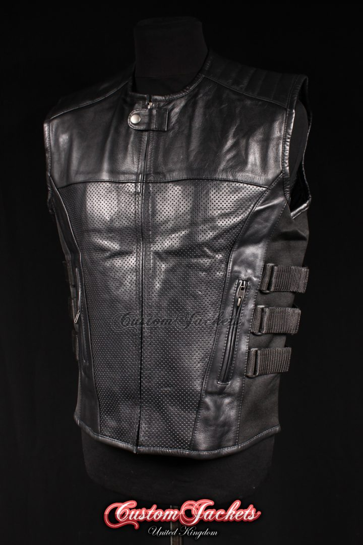 Men's SWAT TROOPER Black Perforated Cowhide Real Leather Army Combat Military Waistcoat