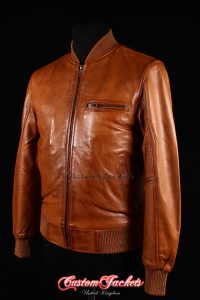 Men's SEVENTIES 70's Tan Washed Lambskin Real Leather Classic Retro Bomber Jacket