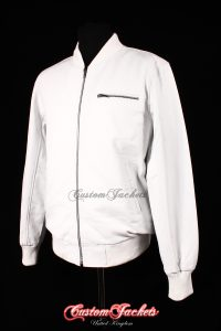 Men's SEVENTIES 70's White Lambskin Real Leather Classic Retro Short Fitted Bomber Jacket