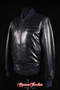 Men's SEVENTIES 70's Navy Blue Washed Lambskin Real Leather Retro Short Fitted Bomber Jacket