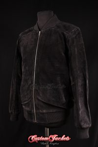 Men's PLAIN SEVENTIES 70's Black Suede Cowhide Real Leather Retro Short Fitted Bomber Jacket