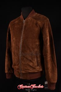 Men's PLAIN SEVENTIES 70's Brown Suede Cowhide Real Leather Retro Short Fitted Bomber Jacket