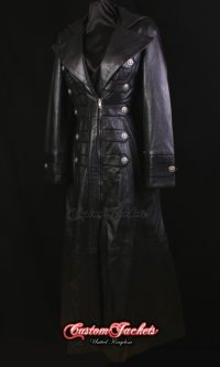 Ladies HERITAGE Black Lambskin & Suede Leather Military Steampunk Full-Length Long Coat Jacket