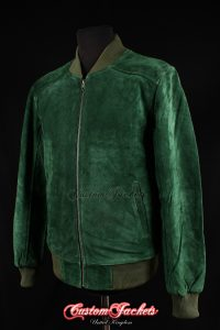 Men's PLAIN SEVENTIES 70's Green Suede Cowhide Real Leather Retro Short Fitted Bomber Jacket