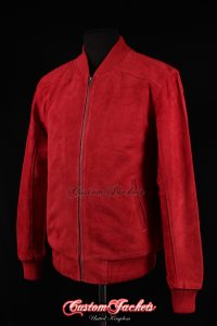 Men's PLAIN SEVENTIES 70's Red Suede Cowhide Real Leather Retro Short Fitted Bomber Jacket