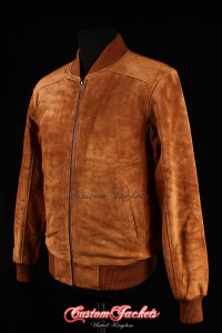 Men's PLAIN SEVENTIES 70's Tan Suede Cowhide Real Leather Retro Short Fitted Bomber Jacket