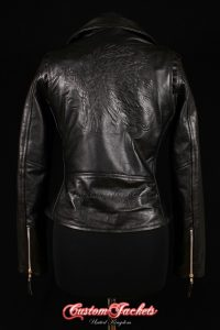 Ladies BRANDO MOHAWK Embossed Red Indian Black Cowhide Leather Motorcycle Biker Jacket