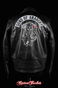 Men's SONS OF ANARCHY Black Real Genuine Cowhide Leather Motorcycle Biker Printed Artwork Jacket