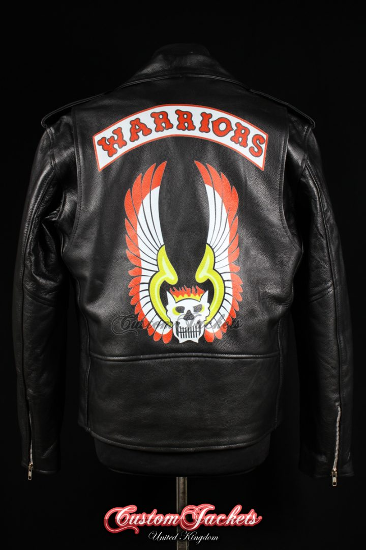 Men's THE WARRIORS Black Real Genuine Cowhide Leather Motorcycle Biker Gang Printed Artwork Film Movie Jacket
