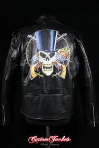 Men's GUNS ROSES ROCK SKULL Black Real Genuine Cowhide Leather Motorcycle Biker Printed Artwork Jacket