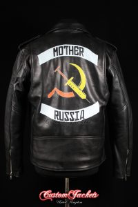 Men's MOTHER RUSSIA Black Real Genuine Cowhide Leather Motorcycle Biker Printed Artwork Bleeds Game Jacket