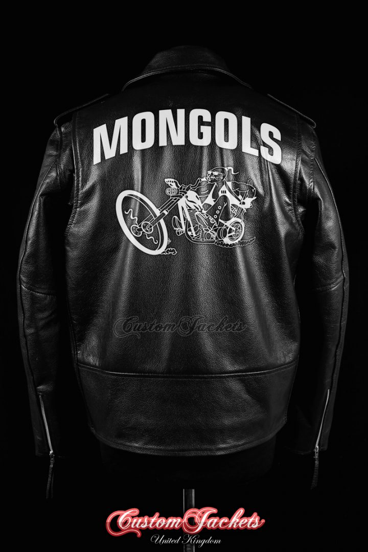 Men's MONGOLS Black Real Genuine Cowhide Leather Motorcycle Biker Gang Printed Artwork Jacket