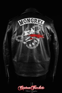 Men's MONGREL DAYS GONE Black Real Genuine Cowhide Leather Motorcycle Biker Gang Printed Artwork Game Jacket