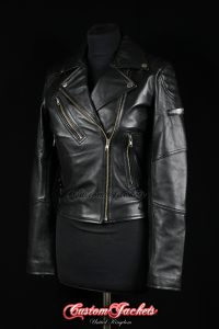 Ladies OPIUM Brass Zip Black Lambskin Napa Leather Cafe Racer Biker Style Jacket