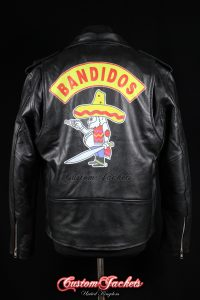 Men's BANDIDOS Black Real Genuine Cowhide Leather Motorcycle Biker Gang Jacket