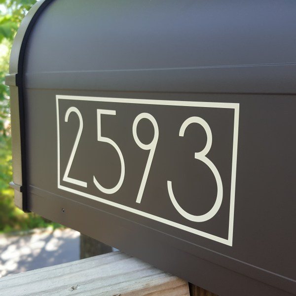 Modern mailbox decals with your exact house numbers Beige Modern Mailbox Numbers side view