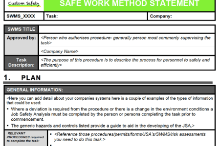 Invoice Templates 2019 » safe work method statement template wa ...
