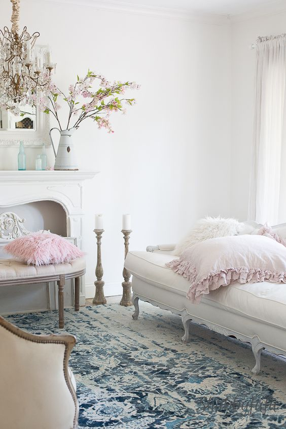 10 Parisian chic spaces that will wow you immediately   Daily Dream     Make a lazy day corner in your living room and decorate it with dreamy pink  pillows and candles  Don t forget to add tree branches with pink flowers  and of