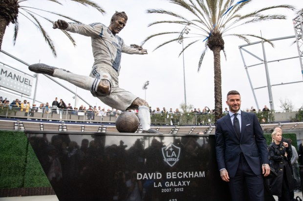 David Beckham honored with statue at Dignity Health Sports ...