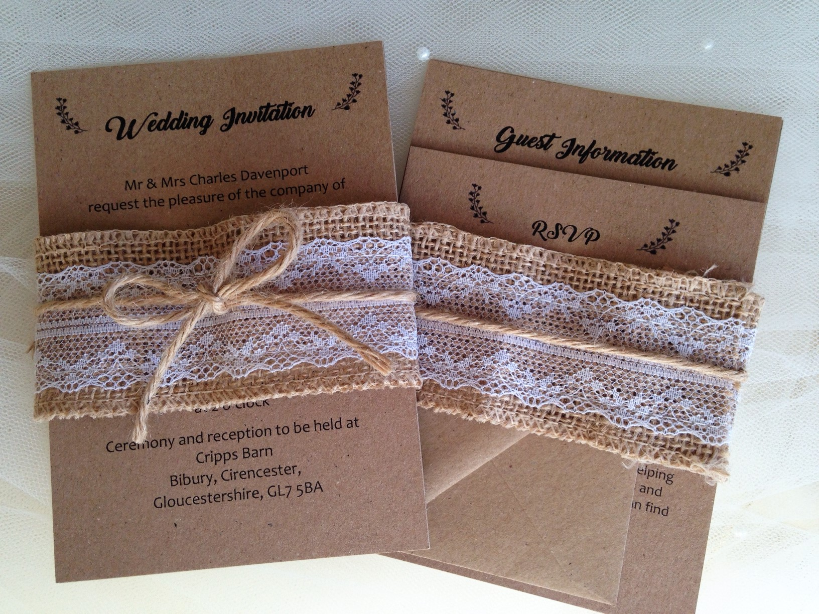 Rustic Wedding Invitations And Rsvp Cards