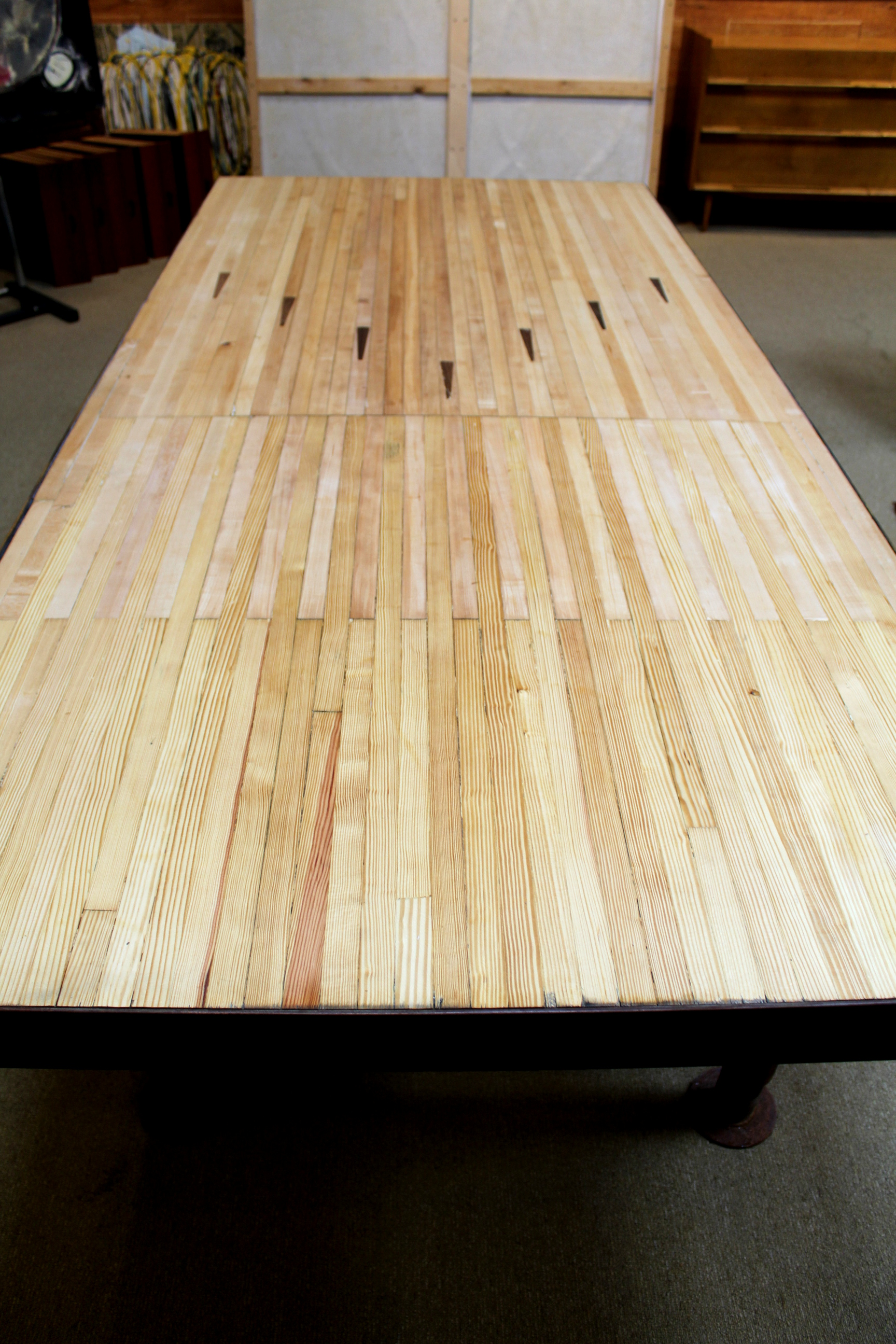 Large Dining Room Table Vintage Bowling Alley Floor