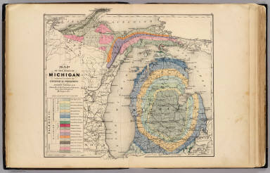 Map of the State of Michigan colored to show the geological     Map of the State of Michigan colored to show the geological formations     Winchell  Alexander  1824 1891