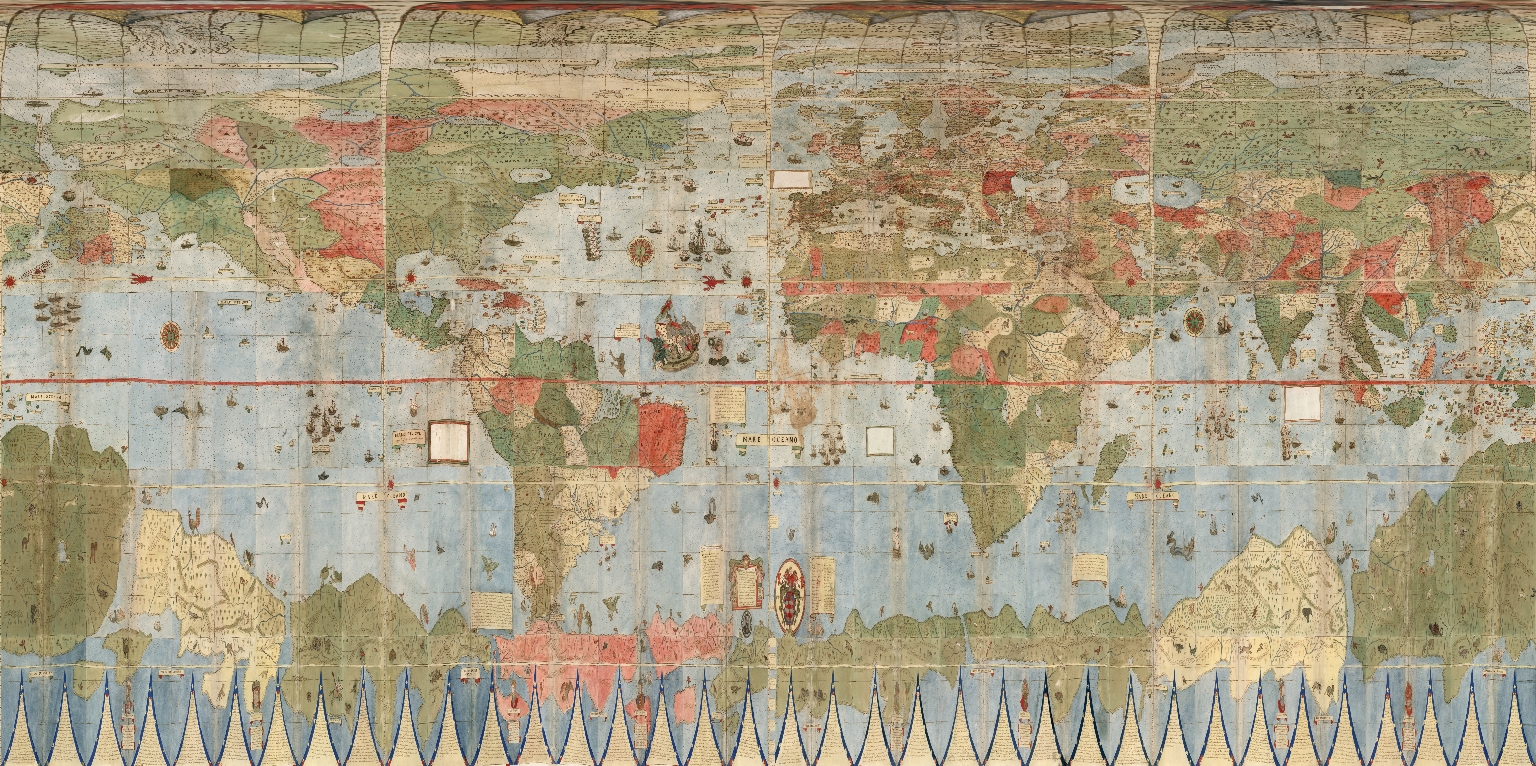 David Rumsey Historical Map Collection   Largest Early World Map     Below is Monte s map georeferenced and re projected as Plate Caree or  Geographic  In this form it can be placed in Google Earth