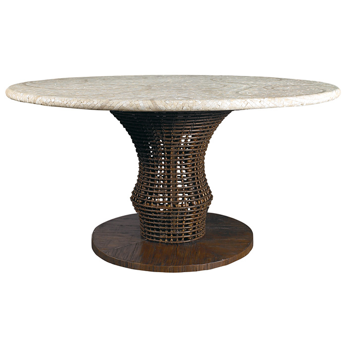 60 Quot Round Dining Table Mosaic Top Rattan Weave Cast
