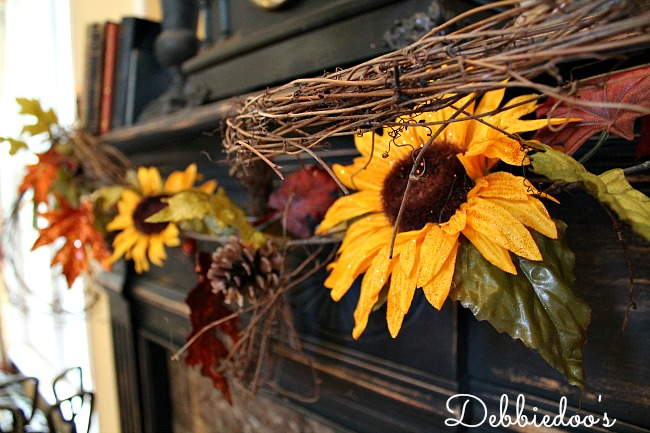 All things Sunflowers   Debbiedoos Fall mantel with sunflowers and rustic decor