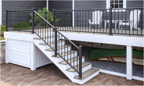 Matte It Out Decking Railing Tips Blog Deckorators   Grey And White Banister   Green White   Staircase   Gray Stained   Fixed Wall Painted   Light Grey Grey