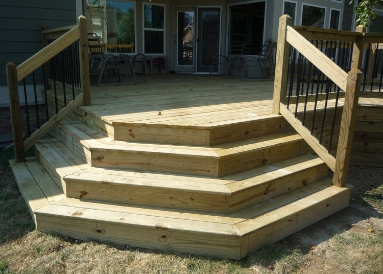 Decks By Design Picture Portfolio | 3 Step Outdoor Stairs | Diy | Portable | Entrance | Wide | Curved Front Porch