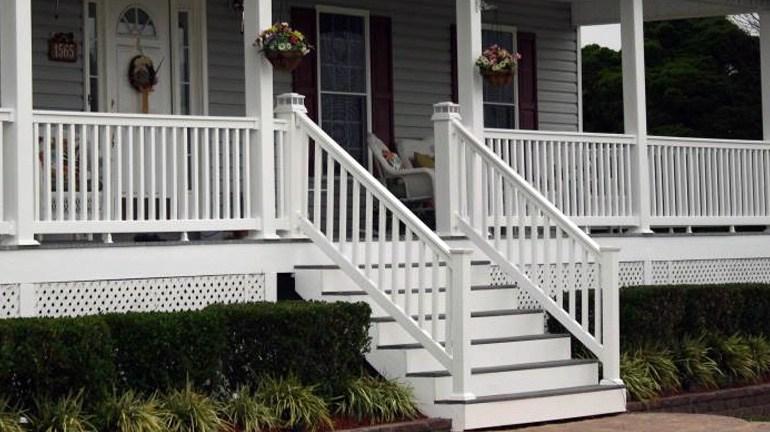 Composite Vinyl Stair Railing Decksdirect   Vinyl Railing For Steps   Plastic   Leadvision   Exterior   2 Step   Front Door