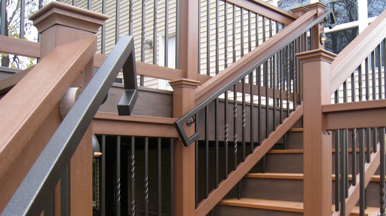 Metal Deck Handrails Deck Stair Railing Aluminum Steel | Aluminum Handrails For Outdoor Steps | Wrought Iron Railings | Baluster | Staircase | Freedom | Powder Coated Aluminum