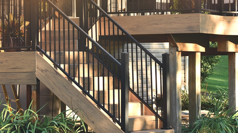 Metal Stair Railing Outdoor Porch Railing Decksdirect | Wooden Handrails For Outside Steps | Staircase | Building | Wrought Iron | Concrete Steps | Deck