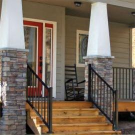 Metal Stair Railing Outdoor Porch Railing Decksdirect | Metal Railings For Outdoor Steps | Railing Ideas | Front Porch Railings | Concrete Steps | Wrought Iron Railings | Railing Kits