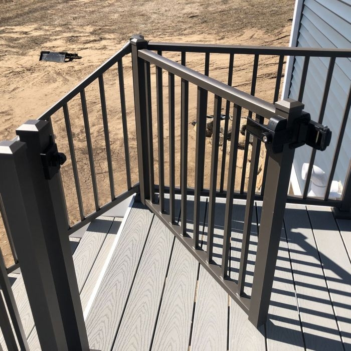 Tuscany Adjustable Gate By Westbury Aluminum Railing Decksdirect | Aluminum Railings For Steps | Porch | Wood Wall Mounted Stair | Solid Wood | Custom Treated | Modern