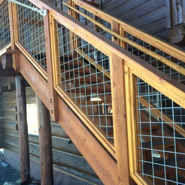Welded Mesh Stair Fence Rail Panels By Wild Hog Railing Decksdirect | Wood And Wire Stair Railing | Before And After | Coastal | Natural Wood | Residential | Utility Panel