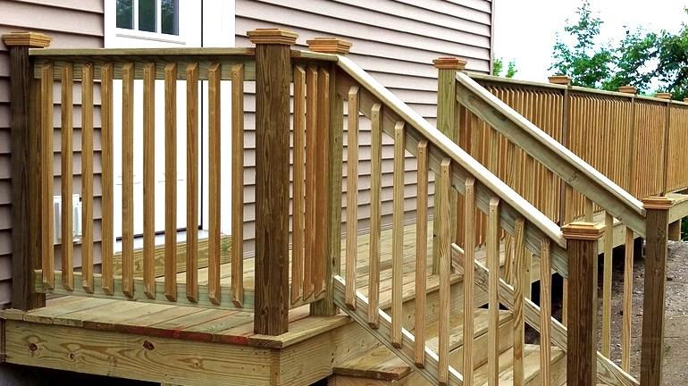 Wood Post Caps Cedar Hardwood More Decksdirect | Pressure Treated Stair Handrail | Sturdy | Step | Deck Rail | Long Deck | Treated Lumber