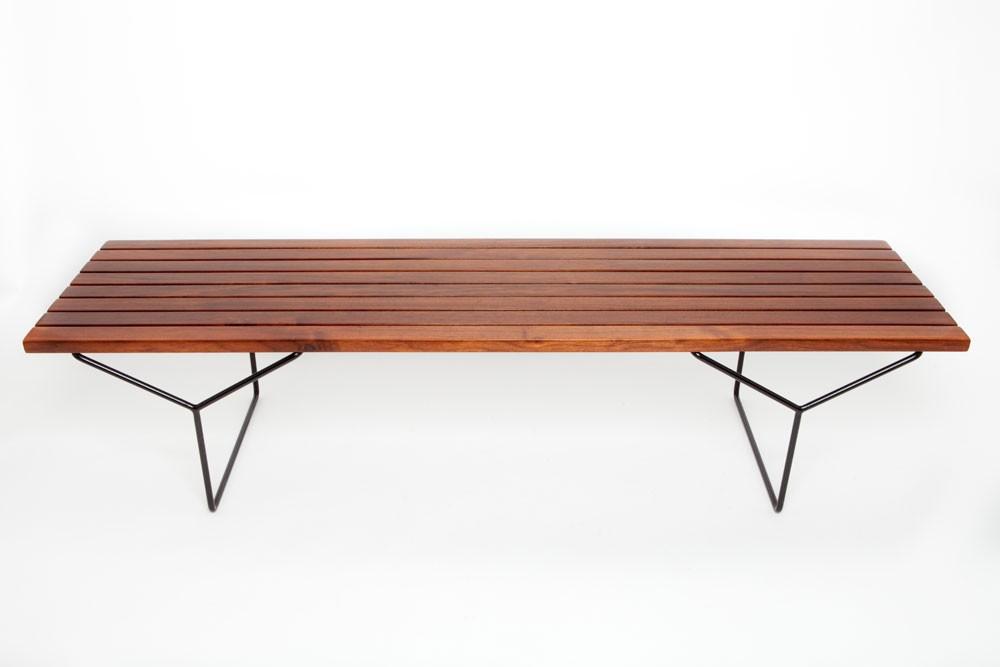 Harry Bertoia Walnut Slat Bench Or Coffee Table Designed