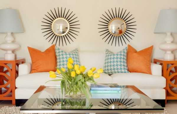 Decorating With Color  Enhance The Natural Beauty Of Your Home With     orange and blue sofa pillows with decorating with color