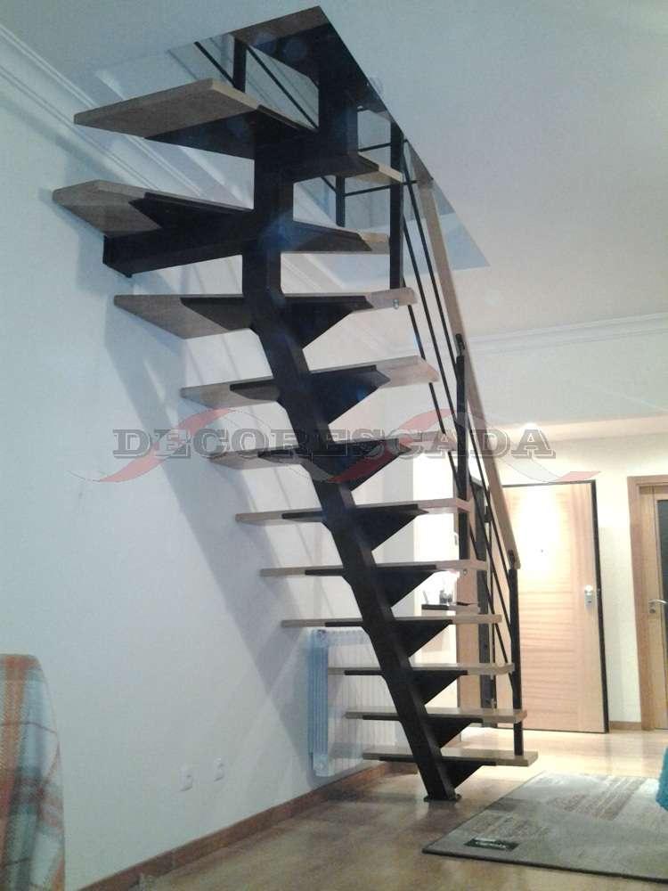 Decorescada Escada Reta De Viga Central Em Ferro E Madeira