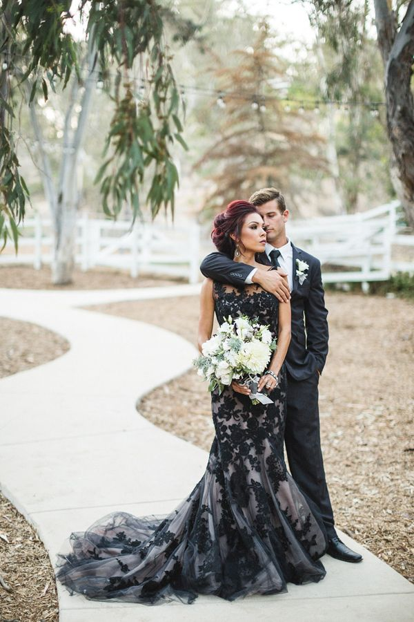 Black White Lace Wedding Gown