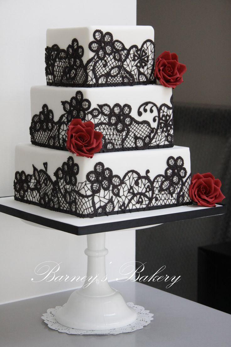 49 Amazing Black and White Wedding Cakes   Deer Pearl Flowers   Part 2     square black red and white wedding cake