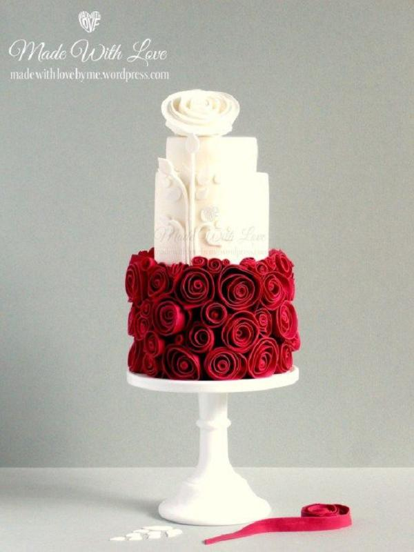 Snow White and Rose Red Wedding Cake   Deer Pearl Flowers Snow White and Rose Red Wedding Cake