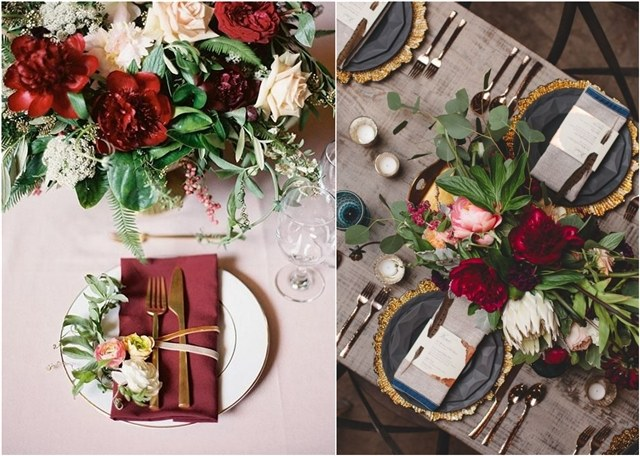 30 Elegant Fall Burgundy and Gold Wedding Ideas   Deer Pearl Flowers burgundy and gold wedding decor