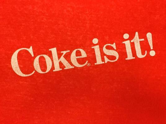 Vintage 1980s Coke Is It Coca Cola Red Slogan T Shirt S M