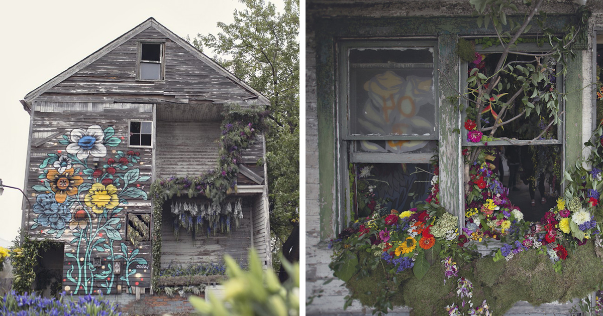 36 000 Flowers Bring An Abandoned House In Detroit Back To