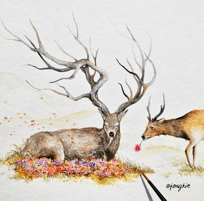 Expressive Watercolor Animal Paintings By Luqman Reza ...