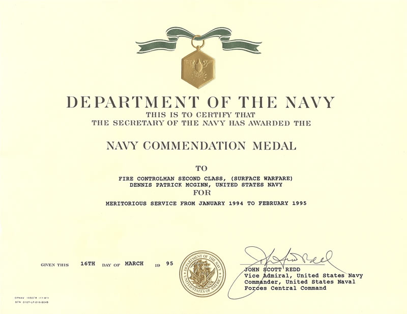 Achievement Medal Navy Template